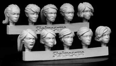 10 female heads of Statuesque Miniatures