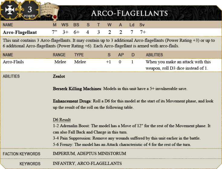 New Data-Sheet for the Arco-Flagellants