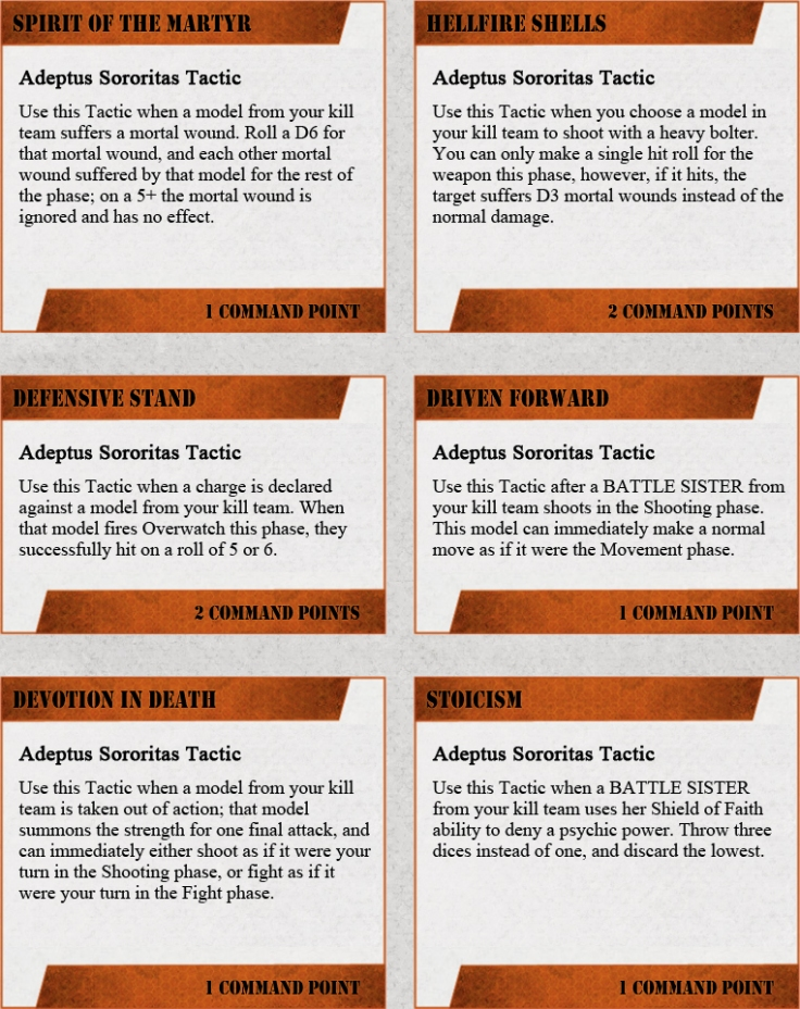 Tactics for the Sisters of Battle in Warhammer 40k Killteam. House Rules for the Adeptus Sororitas.