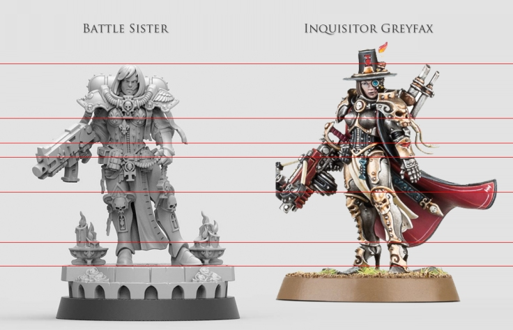 Size comparison of a Battle Sister and Inquisitor Greyfax.