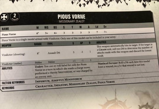 The Datesheet for Pious Vorne in 8th Edition of Warhammer 40.000